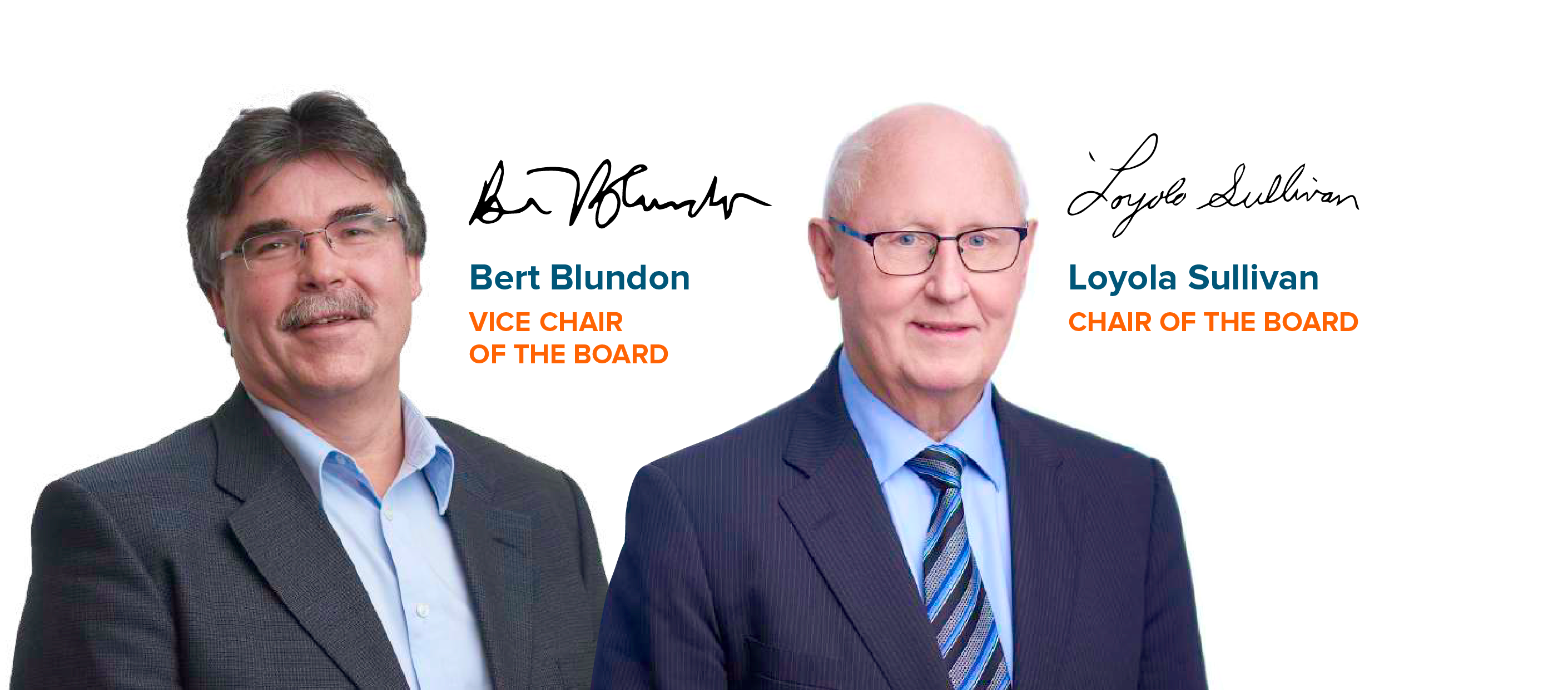 Chair and Vice Chair of the Board Signature and Headshot